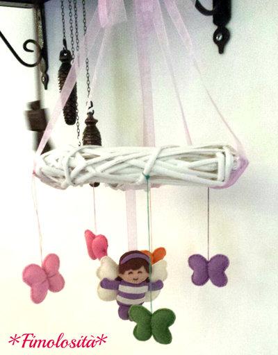 Giostrina Shabby Chic per culletta 100% handmade (SOLO SU RICHIESTA)