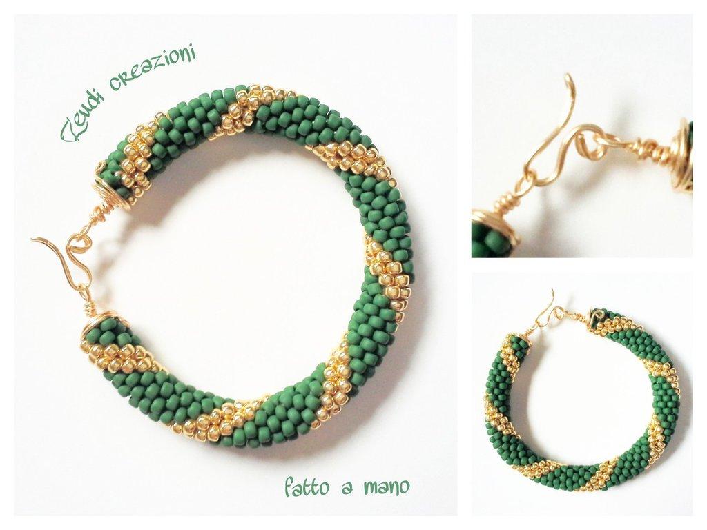 Bracciale bangle verde oro