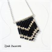 Collana argentata perline nere