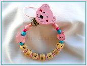 Catenella porta-ciuccio modello orsetto rosa premium
