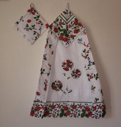 strofinaccio con presina, set da cucina, fragole, decorazione per la cucina, bianco e rosso, regalo per la mamma