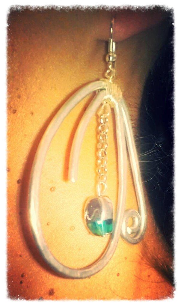 orecchini alluminio  e vetro