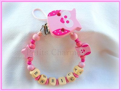 Catenella porta-ciuccio modello gufetto rosa