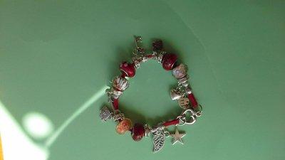 Braccialetto perline vetro colorate, strass e pendenti