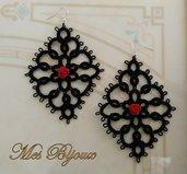 Orecchini moda neri con rosellina rossa   chiacchierino  idea regalo donna ragazza