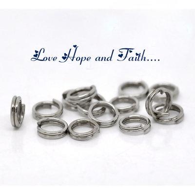LOTTO 100 anellini doppio giro aperti color argento scuro (5mm) (cod.12279)