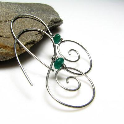 Orecchini in acciaio. Orecchini spirali. Spirale. Orecchini verdi. Spirali verdi. Idea regalo.