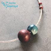 Girocollo con perle blu e marone & orecchini abbinati - Linea Satelliti - C.38.2015