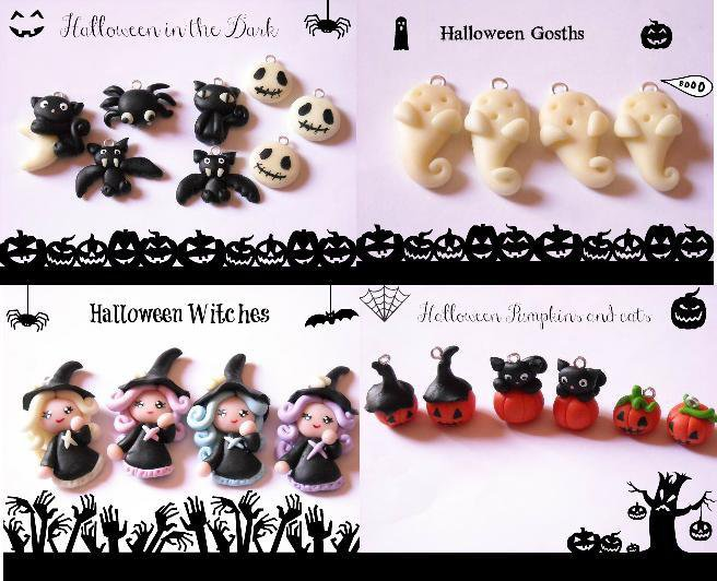 CIONDOLI CHARMS FIMO PERSONAGGI CATTIVI HALLOWEEN ZUCCA FANTASMA RAGNO STREGA PIPISTRELLO GATTO NERO LUNA JACK NIGHTMARE BEFORE CHRISTMAS