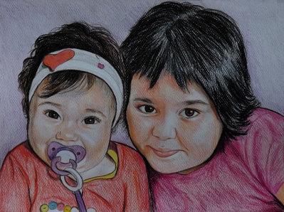 Ritratto su commissione da foto pastelli su cartoncino bambini coppie famiglia