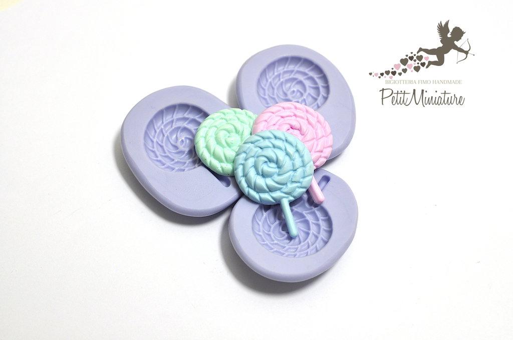 Stampo lecca lecca stampo 3D 3cmx2cm Silicone flessibile Lecca Lecca in miniatura Kawaii dolci Mold Fimo gioielli Charms ST198