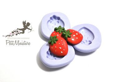Stampo flessibile silicone fragola 1,8cm Kawaii dolci stampo Fimo gioielli Charms ST200