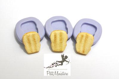 Stampo 3D Silicone flessibile 2cm Fetta di Pane in miniatura Kawaii dolci stampo Fimo gioielli Charms-Miniature Cibo-Dollhouse ST206