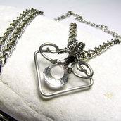 Collana in acciaio Collana con cristallo di roccia Ciondolo cristallo Idea regalo