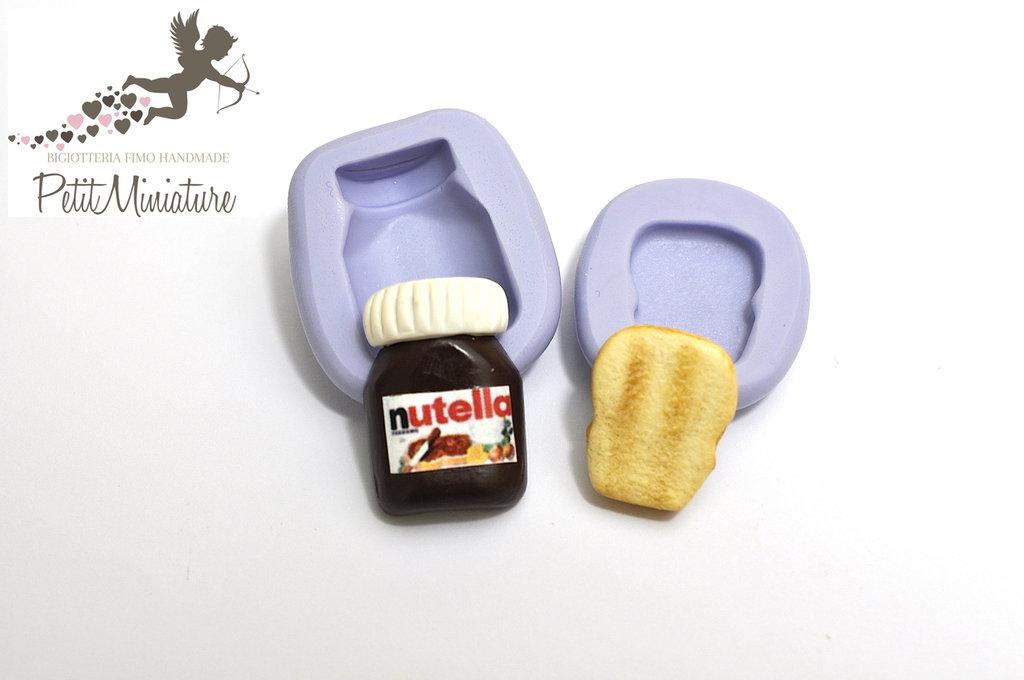 KIT 2 STAMPI Silicone flessibile Nutella e fetta di pane in miniatura 2,5CM Kawaii Fimo gioielli Charms-Miniature Cibo-Dollhouse ST208