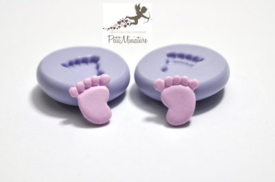 Kit 2 Stampi silicone flessibile piede bambino 10mm gioielli fimo kawaii ST209