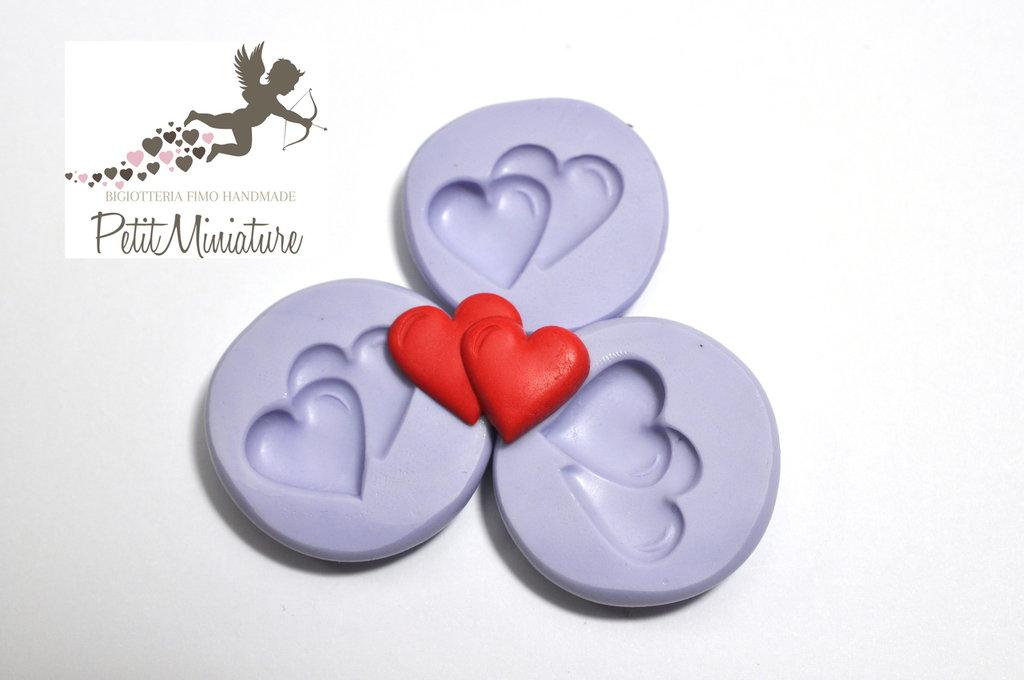 Stampo silicone flessibile Doppio Cuore amore 20mm gioielli fimo kawaii ST214
