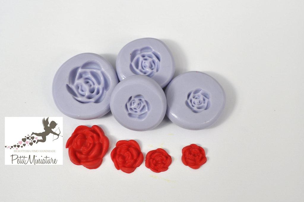Kit 4 Stampi silicone flessibile Rosa 15mm 10mm 9mm 8mm gioielli fimo kawaii ST221