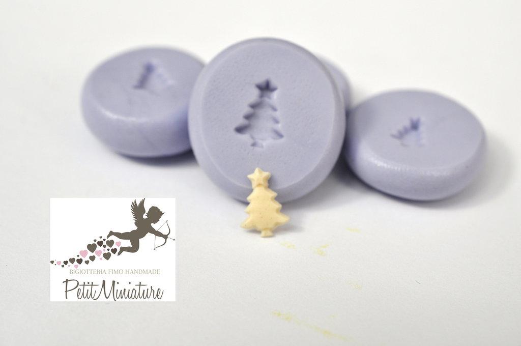 Kit 4 Stampi silicone flessibile Albero di Natale Miniature Dollhouse 6mm gioielli fimo kawaii ST222