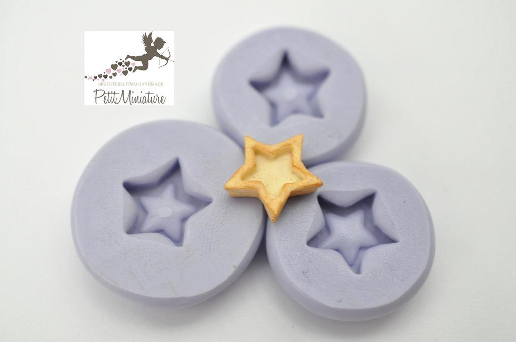 Stampo silicone flessibile biscotto stella di Natale 10mm gioielli fimo kawaii ST224