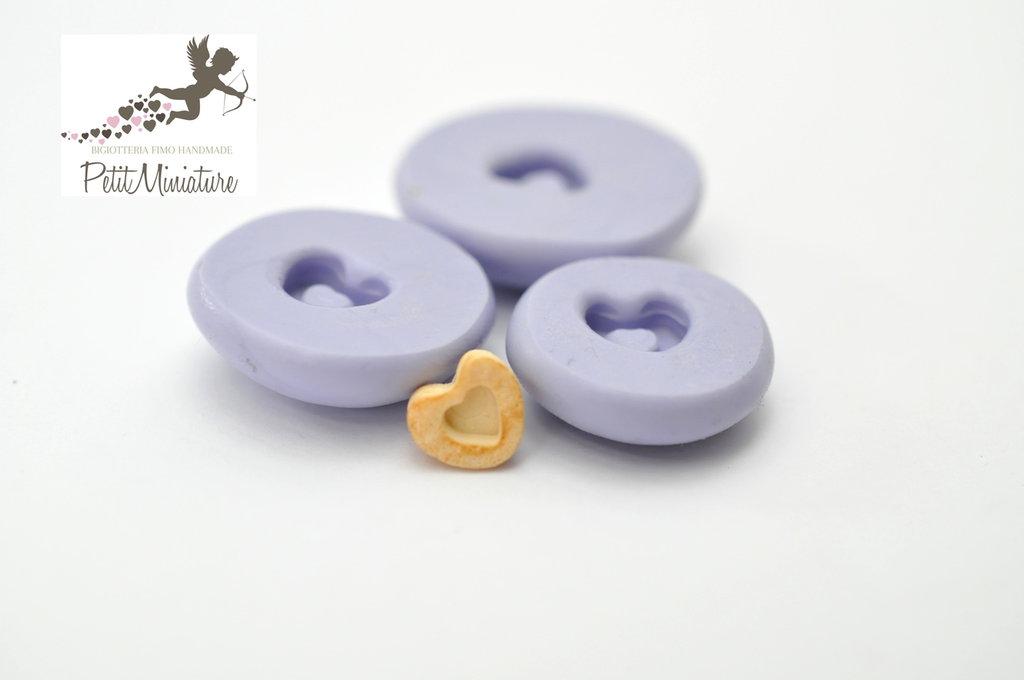 Stampo silicone flessibile biscotto cuore di natale 10mm gioielli fimo kawaii ST225