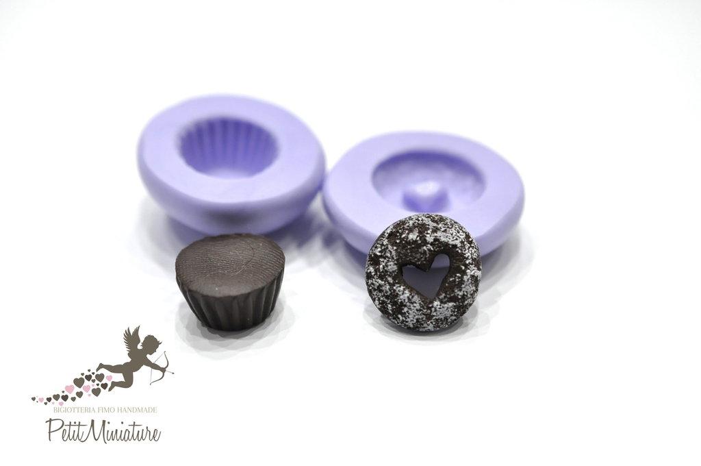 Stampo Silicone cupcake cuore 1,5mm ST226 in silicone flessibile 3d miniature dollhouse charm kawaii fimo gioielli sapone resina gesso