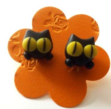 Orecchini muso di gatto con occhi gialli idea regalo per halloween in fimo
