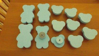 INSERZIONE RISERVATA per PISCHEDDA - 8 teste in legno celeste con perno e 4 orsetti a corpo intero - no fimo