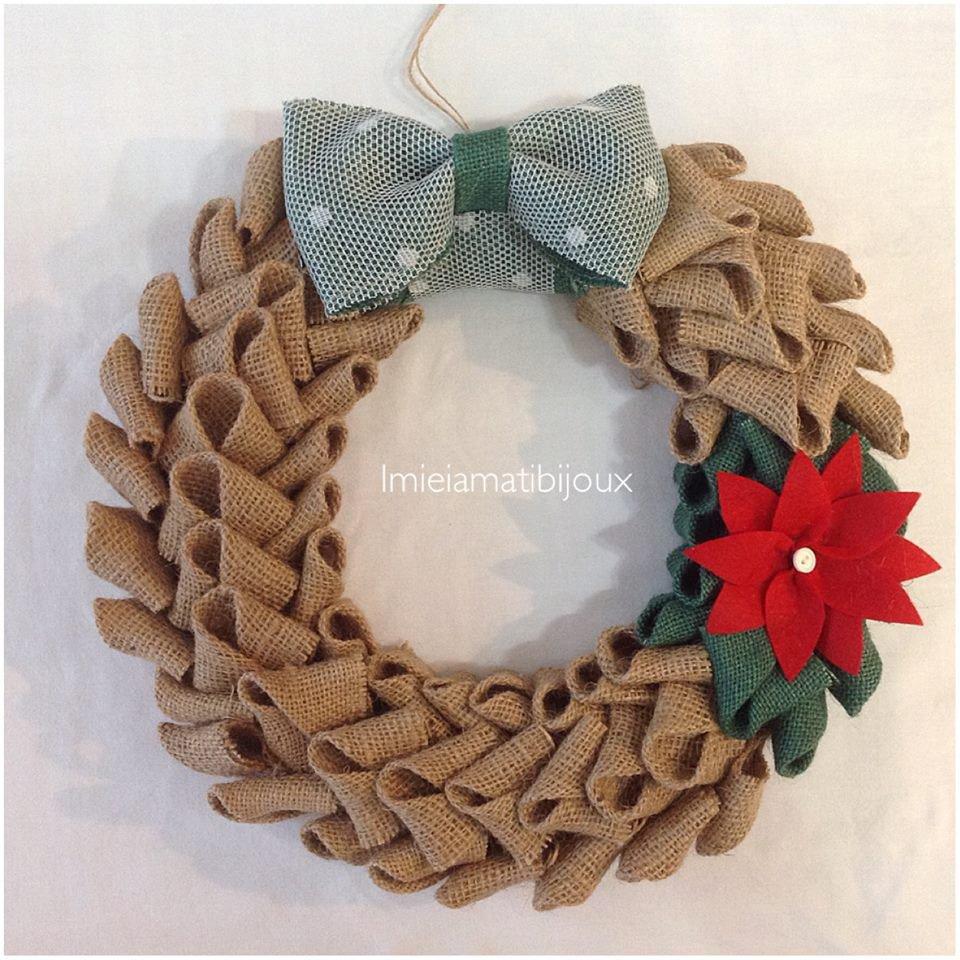 Ghirlanda natalizia iuta e pannolenci feste natale - Ghirlande per porte natalizie ...