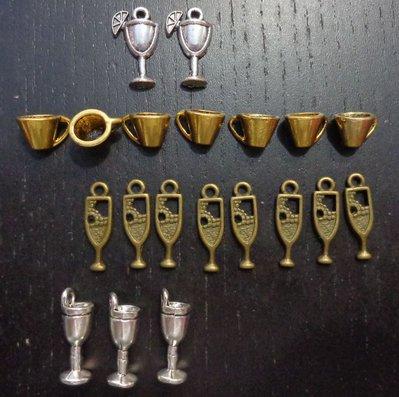 20 Mix di Ciondoli Bicchiere Tazzine e Flute in Argento Tibetano