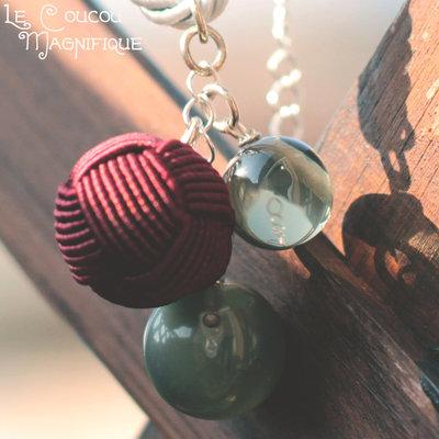 Collana con bottoni antichi in resina e seta - C.23.2015