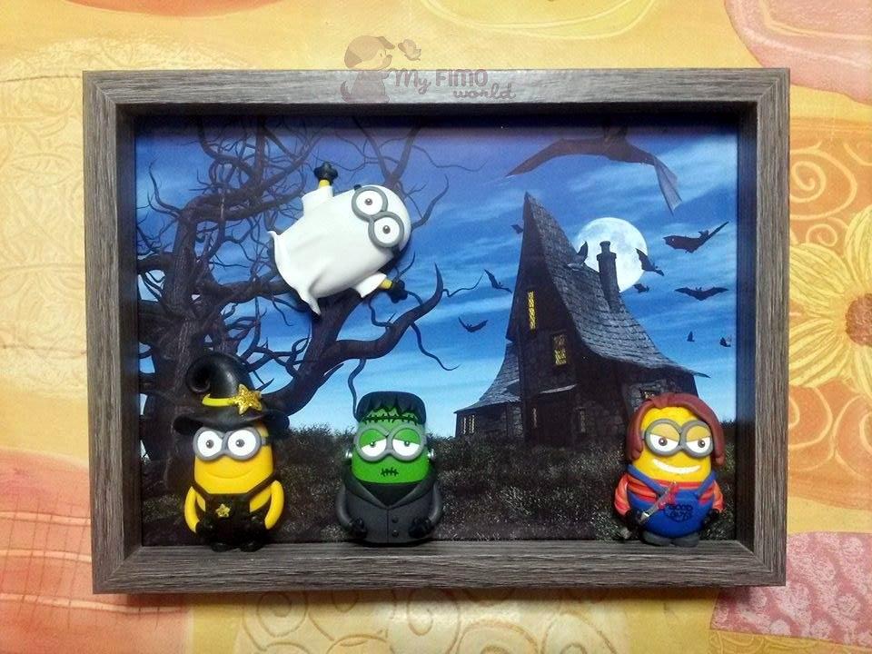 Quadretto-cornicetta con Minions Halloween