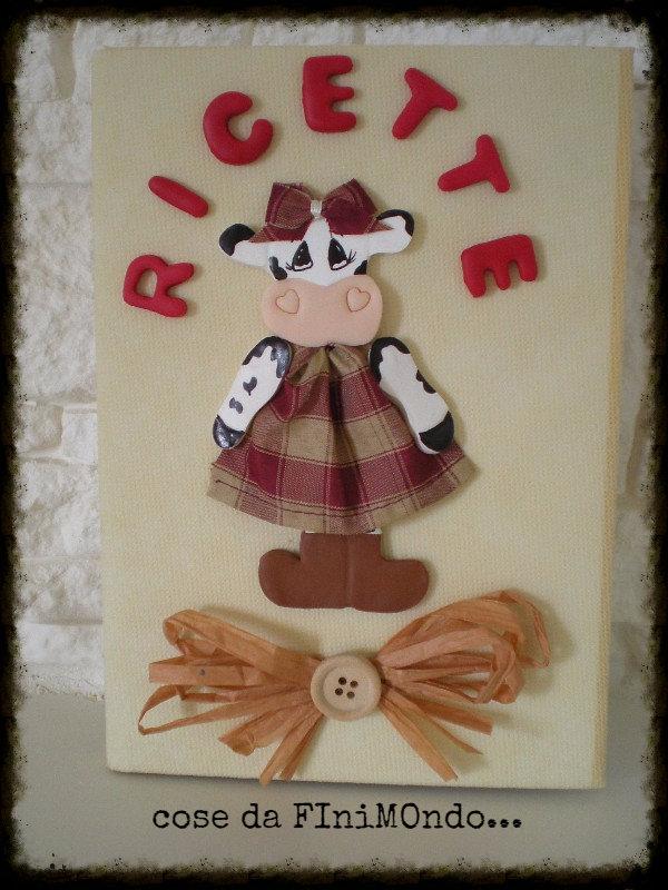 Ricettario fatto a mano, decorazione in fimo con mucca country