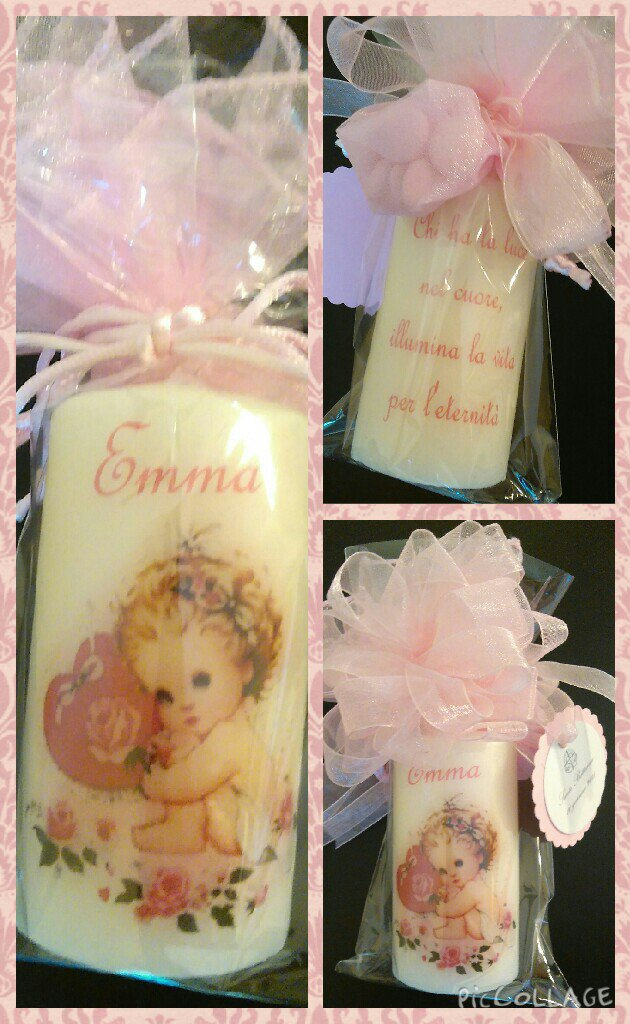 Candele battesimo decorate a mano