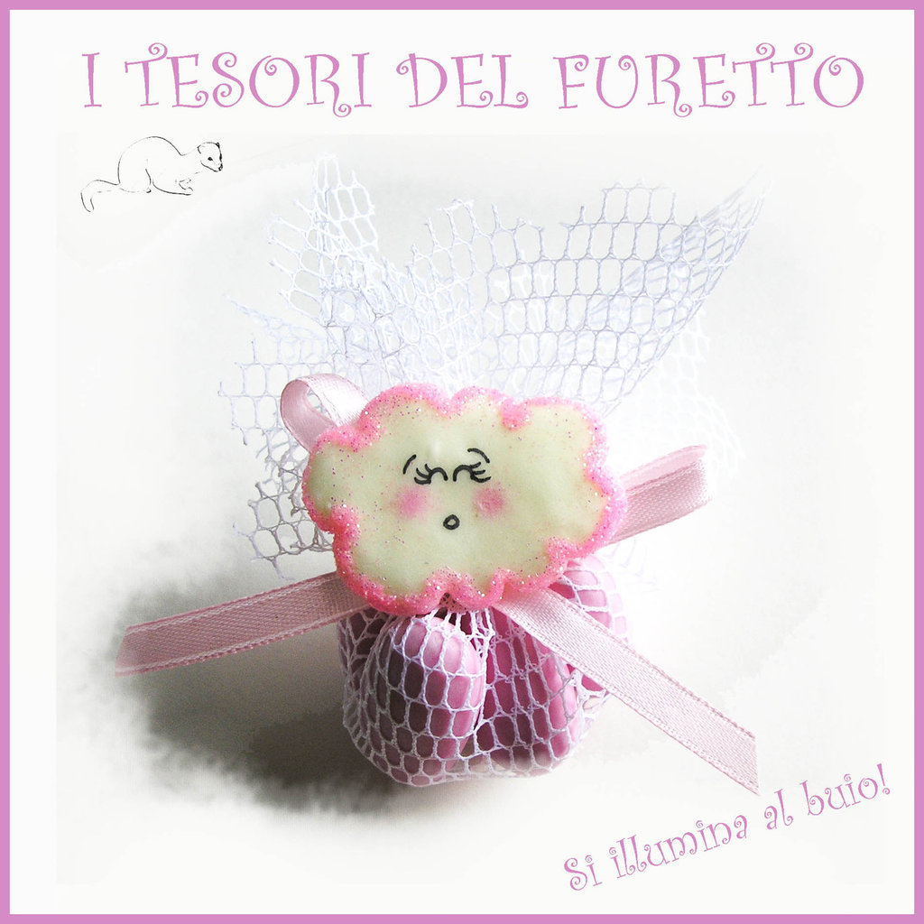 """24 Bomboniere """"Nuvoletta Fluorescente Rosa"""" Con confetti nascita battesimo fimo bambina kawaii economica"""