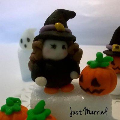 segnaposto halloween, streghetta, confetti decorati