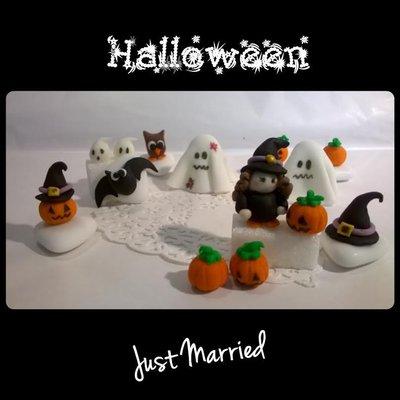 segnaposti halloween, decorazioni miste, lotto di 10 pezzi  strega, la zucca, la zucca con cappello da strega, cappello da strega, il ragno, il pipistrello,  lo spiritello, due fantasmi e il gufo