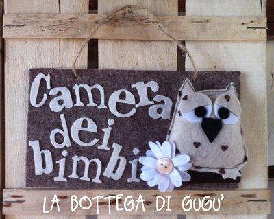 """Targa fuoriporta di feltro con scritta """"Camera dei bimbi"""" (marrone/panna)"""