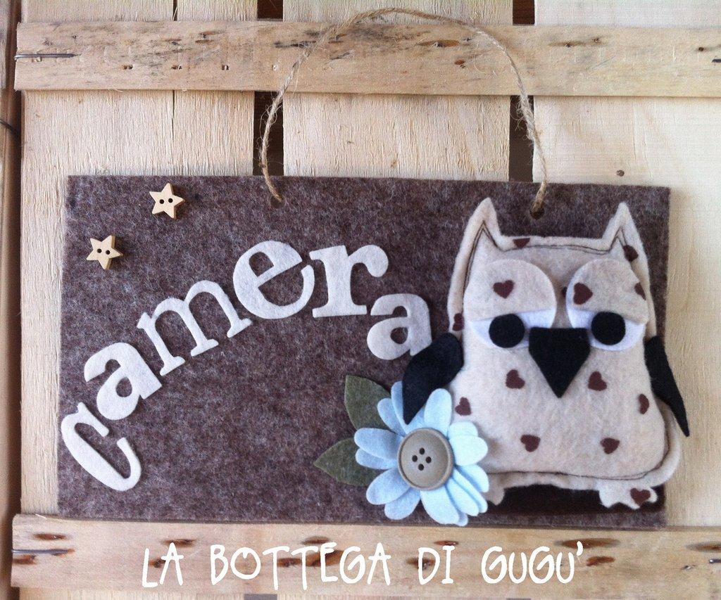 """Targa fuoriporta di feltro con scritta """"Camera"""" (marrone/panna)"""