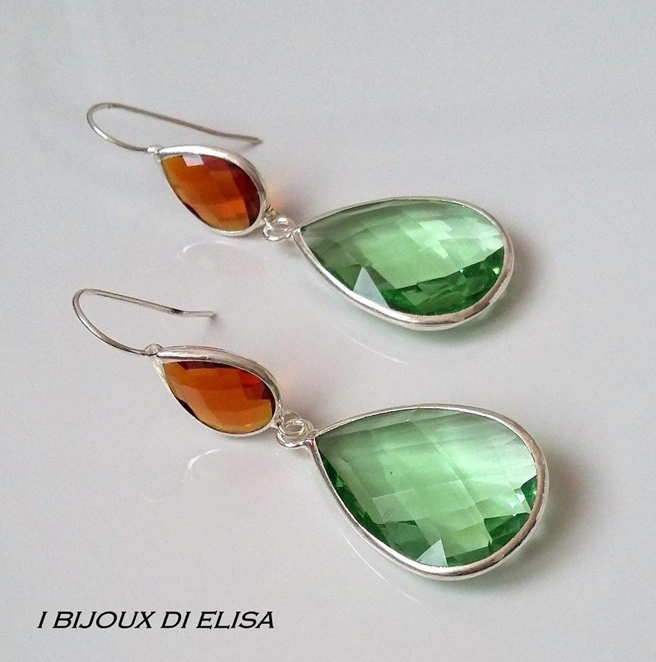 Orecchini cristalli verdi e ambra