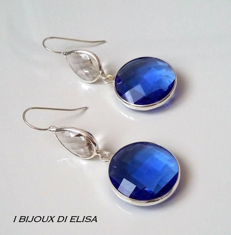 Orecchini cristalli trasparenti a blu
