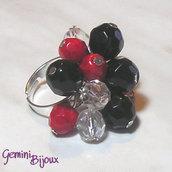 Anello a grappolo rosso nero crystal