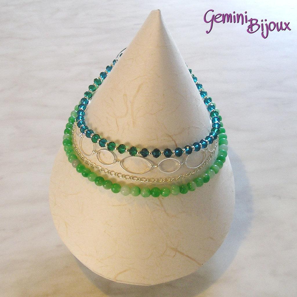 Collana girocollo a quattro file verde con giada e rondelle