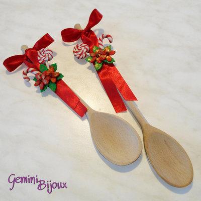 Cucchiaio legno decorato in fimo Stelle di Natale