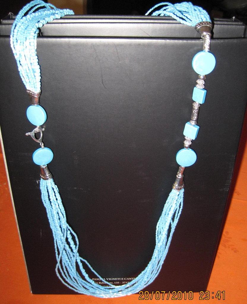 Collana multifilo turchese