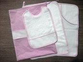 Set asilo 4 pezzi da ricamare tovaglietta bavaglino asciugamani sacca rosa