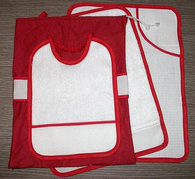 Set asilo 4 pezzi da ricamare tovaglietta bavaglino asciugamani sacca rosso