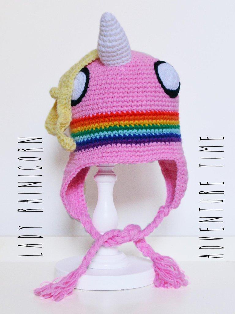 """Berretto - cuffia uncinetto amigurumi Lady Rainicorn da """"Adventure Time"""""""