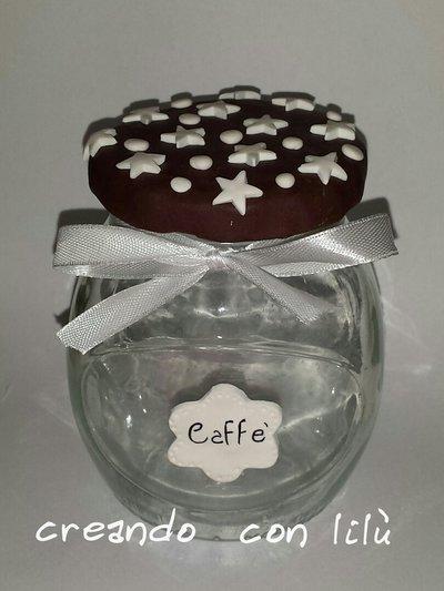 barattolo caffè decorato in fimo tema biscotto