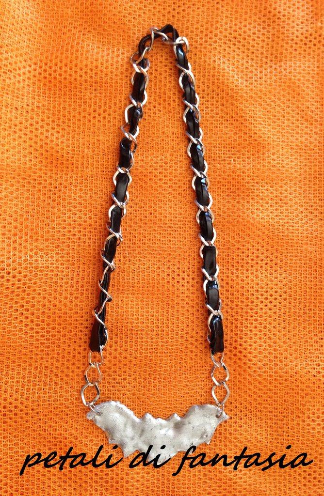Collana pipistrello argentato